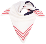 Kenzo Silk Painted Logo Square Scarf White