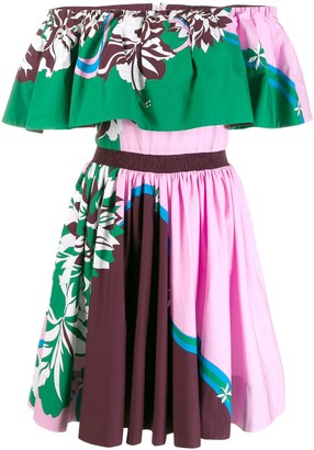Emilio Pucci Printed Off Shoulder Dress