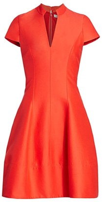 Halston Cap-Sleeve Silk-Blend Faille Flare Dress