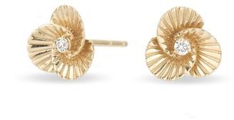 Adina Reyter Tiny Diamond Flower Rays Stud Earrings in Yellow Gold
