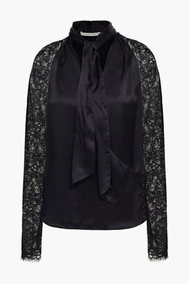 Jonathan Simkhai Tie-neck Corded Lace And Silk-satin Blouse
