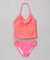 Jantzen Neon Pink Crochet Ruffle Tankini - Toddler & Girls