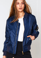Missy Empire Alexus Navy Zip Up Bomber Jacket
