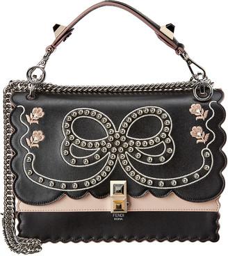 Fendi Kan I Bow Embellished Scalloped Leather Shoulder Bag