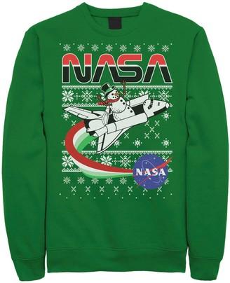 Licensed Character Men's NASA Santa Rocket Ugly Christmas Sweater Sweatshirt