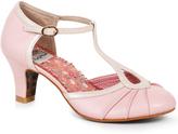 Bettie Page Light Pink & Metallic Leatherette Keyhole Eris T-Strap Heels Shoes