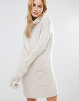 Fashion Union Roll Neck Dress In Super Soft Knit