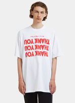 Raf Simons Thank You Print Oversized T-shirt In White