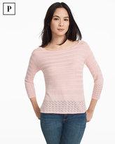 White House Black Market Petite Three-Quarter Sleeve Mix-Stitch Boxy Pullover Sweater
