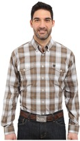 Cinch Long Sleeve Plain Weave Plaid Double Pocket