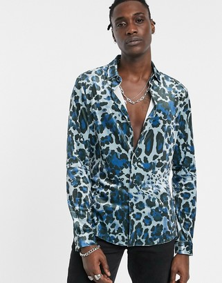 Asos Design DESIGN skinny fit stretch velvet shirt in animal leopard print-Blue