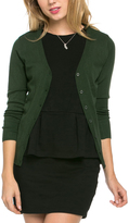 Hunter Green Three-Quarter Sleeve Cardigan