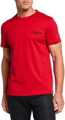 Balmain Men's Jersey Logo Crewneck T-Shirt