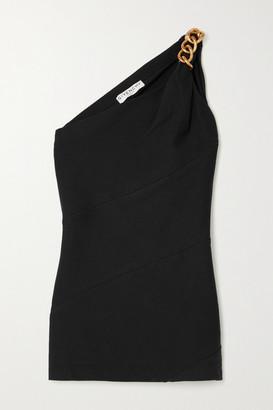 Givenchy One-shoulder Chain-embellished Stretch-crepe Top - Black