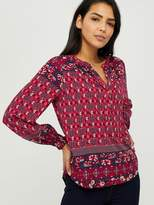 Monsoon Deanna Print Sustainable Viscose Top - Coral