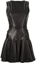 Plein Sud Jeans lace-up skater dress - women - Polyester/Leather - 36