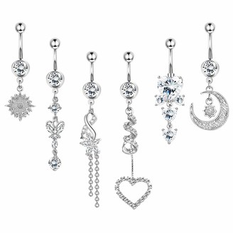 BodyBonita 6Pcs 14G Dangle Belly Button Rings Surgical Stainless Steel Curved Dangle Navel Rings for Women Girls Barbell Body Piercing Jewelry