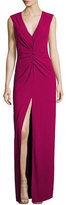 Halston Cap-Sleeve V-Neck Ruched-Front Column Evening Gown