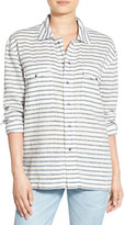 Hudson Grace Oversize Linen-Blend Button-Down Shirt