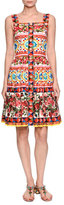 Dolce & Gabbana Sleeveless Button-Front Maiolica Dress, Pink/Multi