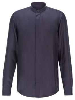BOSS Slim-fit evening shirt in Italian silk twill