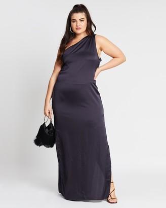 Missguided Curve One-Shoulder Satin Maxi Dress