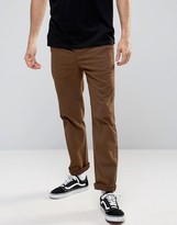 Asos Straight Pants With Button Fly In Dark Brown