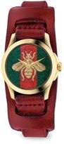 Gucci G-Timeless Embroidered Bee Goldtone Stainless Steel & Leather Watch