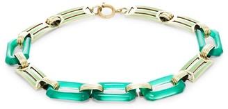 Sophie Jane Vintage Estate Jewelry 14K Yellow Gold Chrysoprase Rectangular Link Bracelet