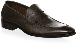 To Boot Textured Leather Penny Loafers