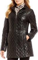 Jones New York Genuine Leather Zip-Front Quilted Jacket