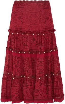 Jonathan Simkhai Embellished Corded Lace Midi Skirt