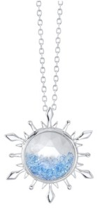 Disney Silver-Tone Frozen 2 Blue Crystal Snowflake Pendant Necklace in Fine Silver Plate