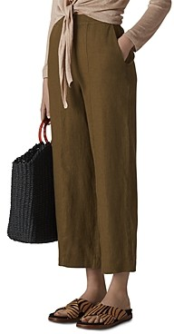 Whistles Cropped Wide-Leg Linen Pants