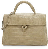 Nancy Gonzalez Crocodile Circle-Clasp Top-Handle Bag