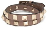 Valentino Garavani - Rockstud Leather Wrap Bracelet - Womens - Grey