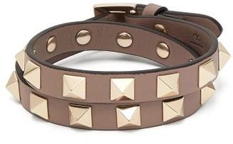 Valentino Rockstud Leather Wrap Bracelet - Womens - Grey