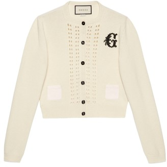 Gucci Wool knit crop cardigan with G patch