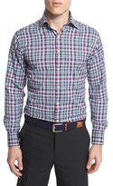 Peter Millar Gonzo Plaid Performance-Fit Sport Shirt, Black