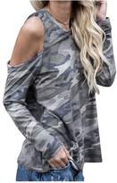 XWDA Cold Shoulder Tops Women Long Sleeve T-Shirt Blouse Shirt
