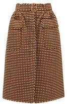 Preen by Thornton Bregazzi Madera Belted Checked Twill Skirt - Womens - Brown Multi
