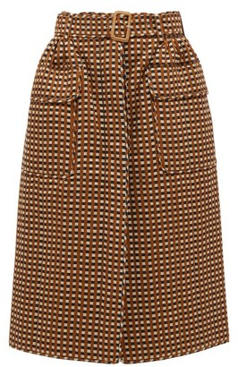 Preen by Thornton Bregazzi Madera Belted Checked Twill Skirt - Brown Multi