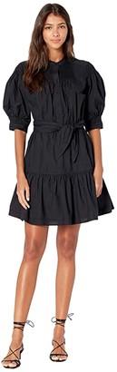 La Vie Rebecca Taylor Short Sleeve Belted Poplin Dress (Black) Women's Clothing