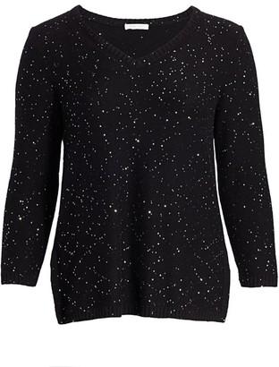 Joan Vass, Plus Size Modern-Fit Sparkle V-Neck Sweater