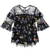 Beautees Butterfly-Print Ruffled Top, Big Girls (7-16)