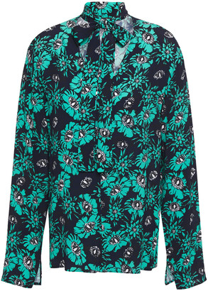 Markus Lupfer Tara Pussy-bow Floral-print Crepe Blouse