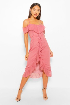 boohoo Dobby Cold Shoulder Ruffle Midi Tea Dress