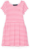 Ralph Lauren 2-6X Striped Pleated Ponte Dress