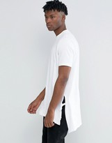 Asos Super Longline T-Shirt In Trapeze Shape With Tie Sides And Splits In White