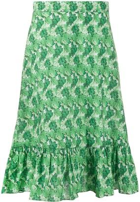 Adriana Degreas High Waisted Leaf Print Skirt